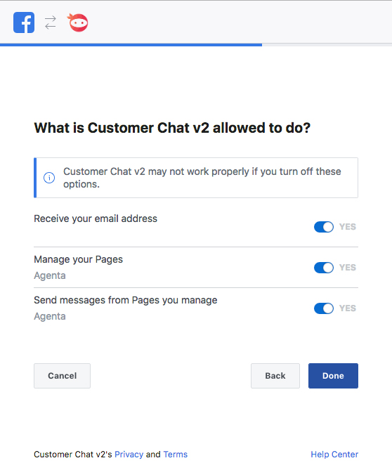 Facebook Chat Activation Step 4